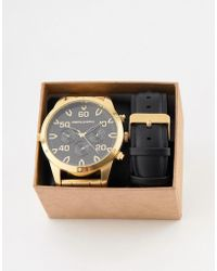 ASOS - Interchangeable Watch Gift Set With Oversized Gold Tone Bracelet Watch And Sub Dials - Lyst