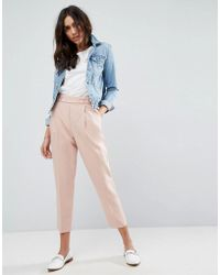 ASOS | Tailored Pleat Front High Waist Tapered Trouser With Button & Tab Detail | Lyst