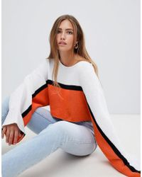 PrettyLittleThing - Striped Wide Sleeve Cropped Jumper - Lyst