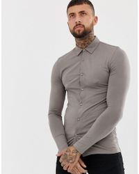ASOS - Muscle Fit Button Through Jersey Polo In Beige - Lyst