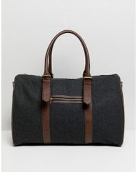 ASOS - Carryall In Melton With Faux Leather Trims - Lyst