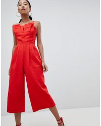 ASOS - Design Structured Jumpsuit With Culotte Leg And Pleated Bodice - Lyst