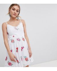 Little Mistress - Full Prom Skater Dress In Rose Embroidery - Lyst