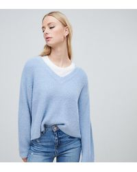 6f76b670926 Lyst - Whistles Check Hem Knitted Jumper in Blue