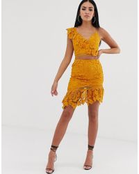 0f4606b2ce Love Triangle - Asymmetric Mini Skirt In Crochet Lace In Burnt Yellow - Lyst