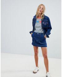 Wrangler - Denim Mini Skirt With Contrast Stitch - Lyst