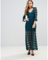 Wyldr - Light Music Knitted Lace Maxi Dress With Seperate Slip - Lyst