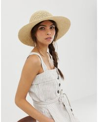 1af0dd3ae4f Lyst - ASOS Oversized Straw Floppy Rose Gold Metallic Hat in Metallic