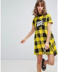 Cheap Monday - Speech Bubble High Neck Check Dress - Lyst