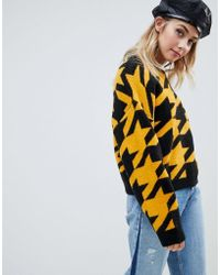 ASOS - Sweater In Houndstooth Pattern - Lyst