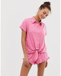 Chelsea Peers - Love Heart Printed Pyjama Short Set In Gift Box - Lyst