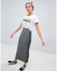 Bershka - Side Stripe Long Skirt In Grey - Lyst