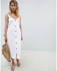 ASOS - Design Dungaree Lattice Side Button Through Midi Dress With Buckles - Lyst