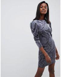 Oasis - Embossed Puff Sleeve Dress - Lyst