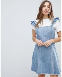 ONLY - Cami Ruffle Denim Pinafore Dress - Lyst