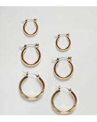 Glamorous - Multipack Gold Hoop Earrings - Lyst