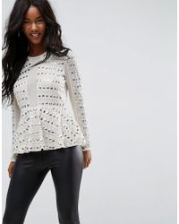 ASOS - Embellished Plunge Top With Peplum - Lyst