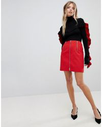 French Connection - Stretch Zip Mini Skirt - Lyst