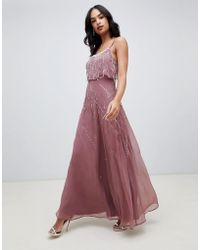 f143f38645d ASOS - Cami Maxi Dress With Delicate Pearl And Beaded Crop Top - Lyst