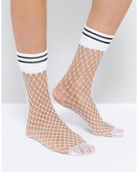 49f0bdfd918 Lyst - American Apparel Knee High Striped Sock in White