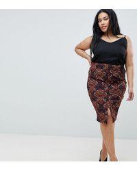 AX Paris - Printed Midi Skirt With Split - Lyst