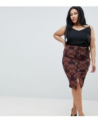 AX Paris - Printed Midi Skirt With Split - Lyst