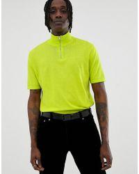 ASOS Knitted Half Zip T-shirt In Neon Green
