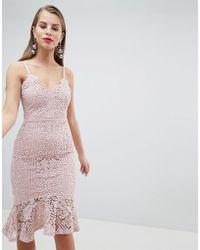 e9d4b2fea9d7a Lipsy - Scallop Lace Fluted Hem Cami Dress - Lyst