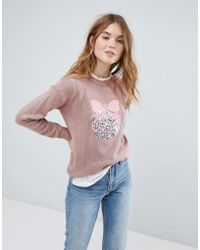 New Look - Sequin Bauble Christmas Jumper - Lyst
