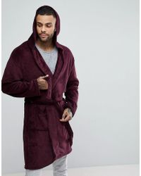 New Look - Robe With Hood In Burgundy - Lyst