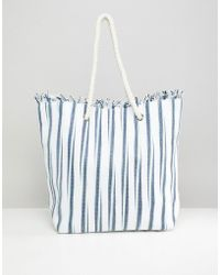 South Beach - Straw Striped Beach Bag - Lyst