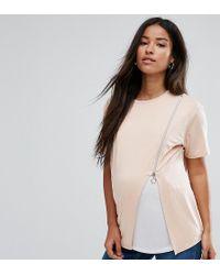 ASOS - Nursing Zip Side Drape T-shirt - Lyst