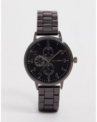 ASOS - Skinny Bracelet Watch In Gunmetal - Lyst