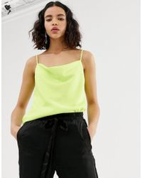 River Island - Cami Top With Cowl Neck In Neon Lime - Lyst