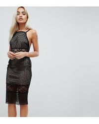 ASOS - Lace & Airtex Mix Midi Pencil Dress - Lyst