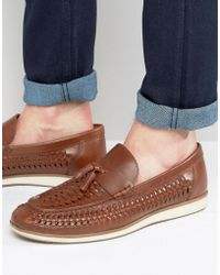 Red Tape - Woven Tassel Loafers In Brown Leather - Lyst