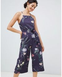 Oasis - Jumpsuit With Lace Back Detail In Floral Print - Lyst