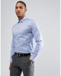 Moss Bros - Moss London Premium Extra Slim Shirt In Navy Texture - Lyst