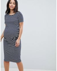 Bluebelle Maternity - Stripe Jersey Bodycon Dress - Lyst