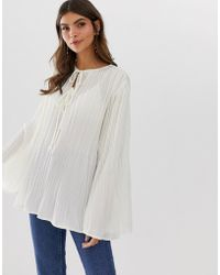 cce8ed39ce6d ASOS - Long Sleeve Pleated Smock Top - Lyst