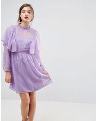ASOS - Asos Metallic Spot Ruffle Smock Mini Dress - Lyst