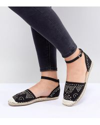Truffle Collection - Wide Fit Stud Trim Espadrille - Lyst