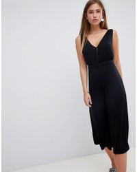 Miss Selfridge - Jumpsuit With V Neck In Black - Lyst