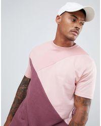 Boohoo - Drop Shoulder T-shirt In Tonal Pink Colour Block - Lyst