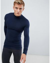 d6152540 ASOS - Muscle Fit Long Sleeve Turtleneck T-shirt With Stretch In Navy - Lyst