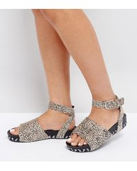 The March - Animal Print Ankle Strap Sandals - Lyst