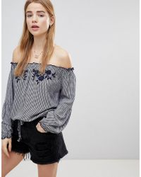 Hollister - Off The Shoulder Gingham Top - Lyst