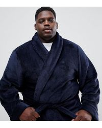 French Connection - Plus Fleece Dressing Gown In Navy - Lyst