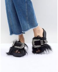 Jeffrey Campbell - Furry Sliders With Oversized Western Buckle - Lyst