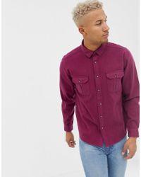 ASOS - Vintage Look Overshirt In Red - Lyst